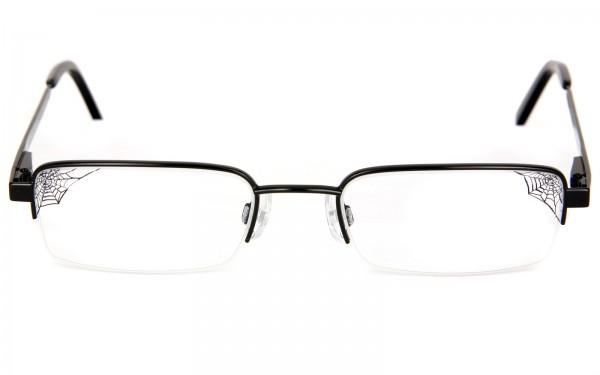 Fledermausbrille als Halbrandbrille mit Glasgravur