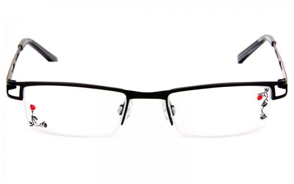 Fledermausbrille als Halbrandbrille mit Glasgravur und Strassstein