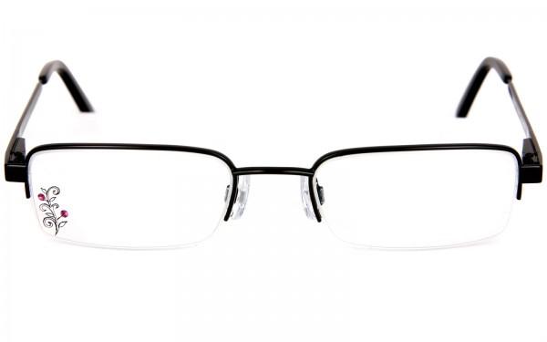 Fledermausbrille als Halbrandbrille mit Glasgravur und Strasssteinen